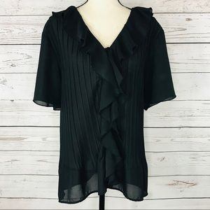 George Top Button Front Ruffled Accordion Pleats